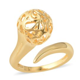 LucyQ Filigree Filled Floral Bud Design Bypass Ring in Gold Plated Sterling Silver 4.79 Grams