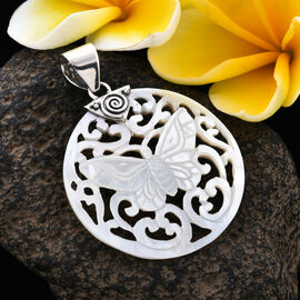 Royal Bali Collection - White Shell Butterfly Pendant in Sterling Silver