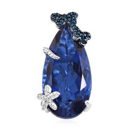 15.25 Ct Twilight Quartz and Blue Diamond Butterfly Pendant in Platinum Plated Silver