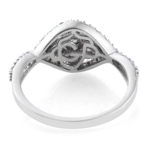 GP Diamond Dream (Rnd), Kanchanaburi Blue Sapphire Ring in Platinum Overlay Sterling Silver 0.270 Ct