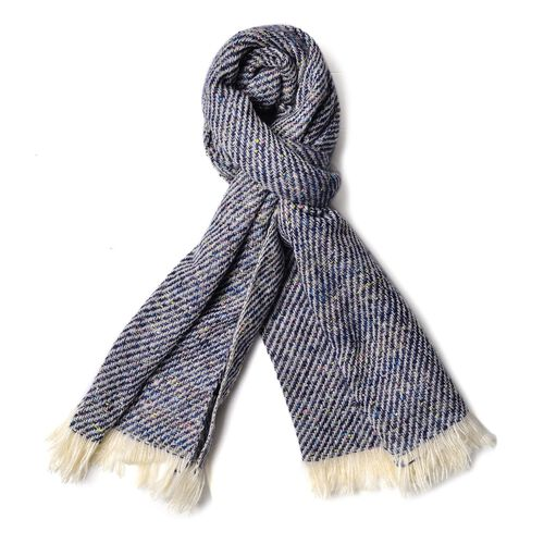 Designer Inspired-Navy, Grey and Multi Colour Stripes Pattern Blanket Shawl (Size 185X60 Cm)