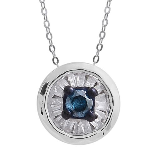 Blue Diamond (Rnd), White Diamond (I4/H- J) Pendant With Chain in Platinum Overlay Sterling Silver 0.500 Ct.