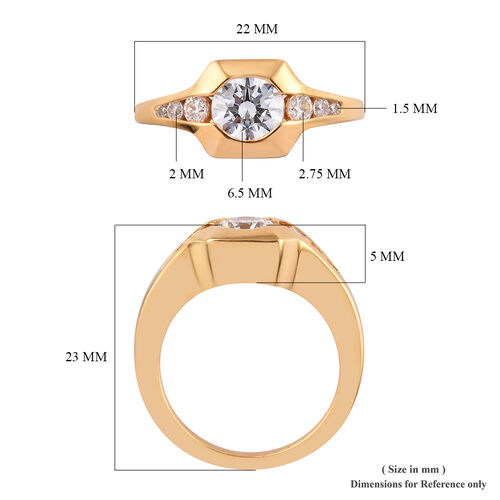 J Francis - 14K Gold Overlay Sterling Silver Ring Made with SWAROVSKI ZIRCONIA 2.35 Ct.