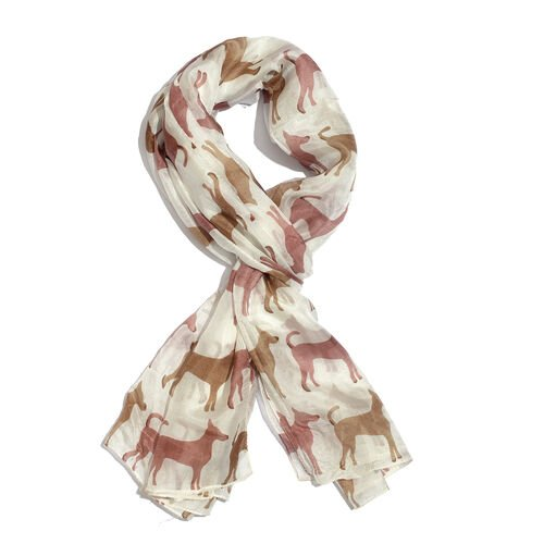 100% Mulberry Silk White, Brown and Multi Colour Dog Pattern Scarf (Size 180x100 Cm)
