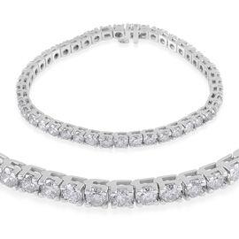 14K White Gold SGL Certified Diamond (Rnd) (I1-I2 / G-H) Bracelet (Size 8.25) 11.500 Ct, Gold wt 20.