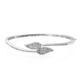 GP- Energy of Life Collection-Diamond (Rnd and Bgt), Kanchanaburi Blue Sapphire Leaf Bangle (Size 7.5) in Platinum Overlay Sterling Silver 1.280 Ct, Number of Diamonds 168.
