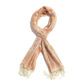 SILK MARK - 100% Superfine Silk Coral, Pink and Multi Colour Paisley and Floral Pattern Jacquard Jam