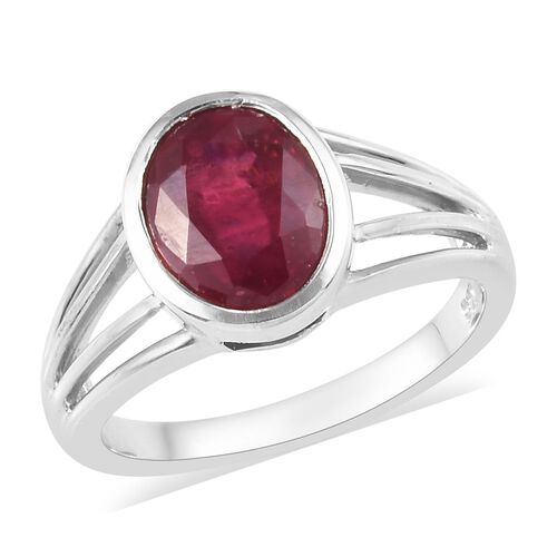 2.25 Ct African Ruby Solitaire Ring in Platinum Plated Sterling Silver