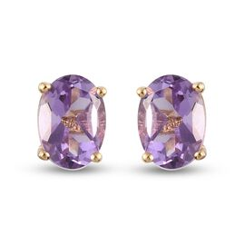 Pink Amethyst Stud Earrings (with Push Back) in 14K Gold Overlay Sterling Silver 1.42 Ct.