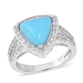 3.35 Ct Sleeping Beauty Turquoise and White Zircon Halo Ring in Sterling Silver 4.2 Grams