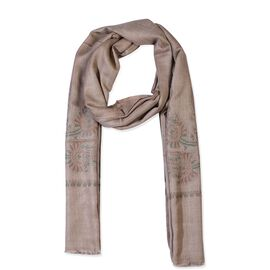 100% Cashmere Wool Paisley Design Scarf (Size 70x200 Cm) - Sand