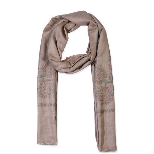 100% Cashmere Wool Paisley Design Scarf (Size 70x200 Cm) - Sand