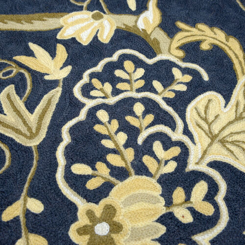 Home Textiles - Hand Embroidered White, Cream and Multi Colour Leaves and Floral Woolen Bedside Rug (Size 90x60 Cm)