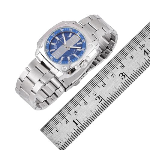 STRADA Japanese Movement Blue Dial Water Resistant Watch in Silver Tone with Stainless Steel Back