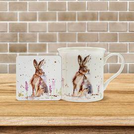 Lesser & Pavey - Country Life Hare Mug and Coaster (MUG-8.5X7.5 CM/ COASTER-10.5X10.5 CM)