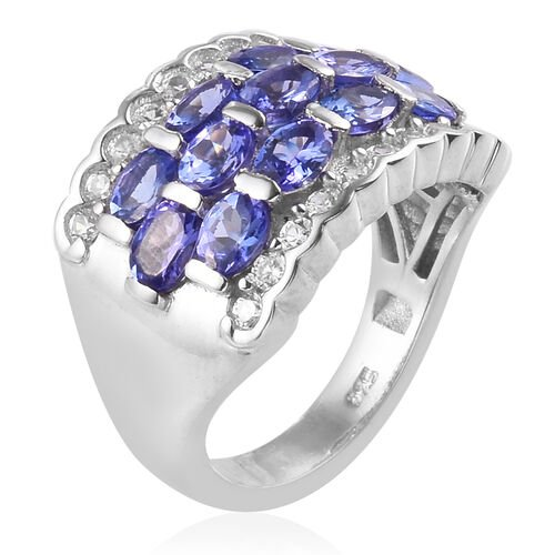 AAA Tanzanite and Natural Cambodian Zircon Ring in Platinum Overlay Sterling Silver 3.25 Ct, Silver wt. 5.00 Gms