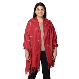 Plume Pattern Embroidery Winter Scarf with Tassels (Size 190.5x76.2 Cm) - Wine