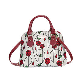 SIGNARE - Tapestry Pug Convertible Mackintosh Rose Shoulder Bag with Removable Strap (36 x 23 x 12.5