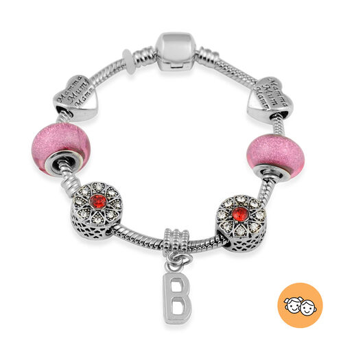 B Initial Charm Bracelet for Children in Simulated Pink Colour Bead, Red and White Austrian Crystal