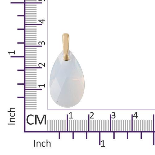 J Francis - Crystal From Swarovski - Swarovski White Opal Crystal (Pear 28x8) Solitaire Pendant in 14K Gold Overlay Sterling Silver