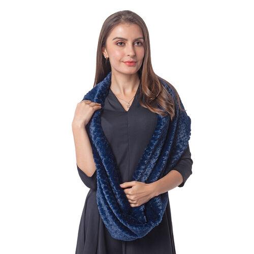 Italian Designer Inspired-High Quality Faux Fur Infinity Scarf (20X160cm) - Blue