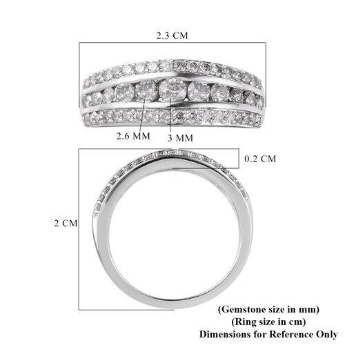 9K White Gold  White Diamond Ring in Rhodium Overlay 1.00 ct,  Gold Wt. 3 Gms  1.000  Ct.