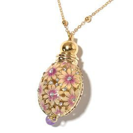 Purple Quartzite, Pink and White Austrian Crystal and Simulated Diamond Enamelled Perfume Bottle Nec