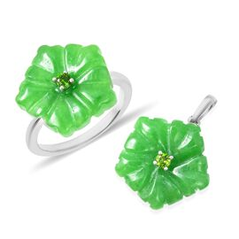 2 Piece Set - Carved Green Jade and Russian Diopside Flower Ring and Pendant in Rhodium Overlay Ster