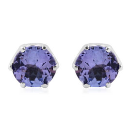 9K White Gold Tanzanite (Rnd) Earrings 1.50 Ct.
