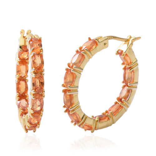 One Time Deal- AA Sunset Sapphire (Ovl) Hoop Earrings (with Clasp Lock) in Yellow Gold Overlay Sterl