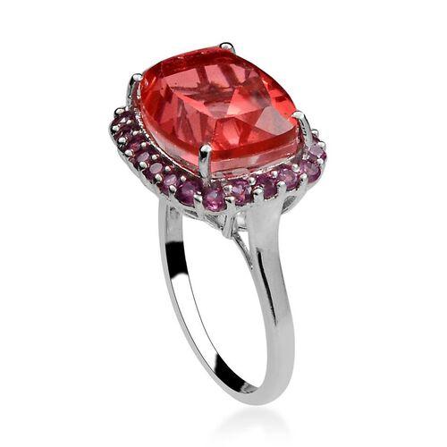 Amits Special Deal - Padparadscha Quartz (Cush 10.25 Ct), Rhodolite Garnet Ring in Platinum Overlay Sterling Silver 11.500 Ct.