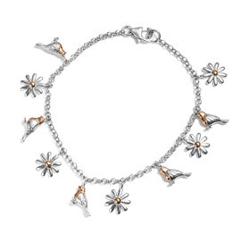 Rose Gold and Platinum Overlay Sterling Silver Bracelet (Size 7.5) with Robin Bird Charm, Silver wt