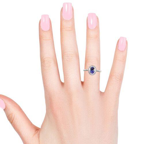 RHAPSODY 950 Platinum AAAA Tanzanite (Ovl 7x5 mm), Diamond Ring 1.00 Ct.