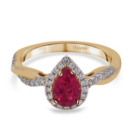 ILIANA 18K Yellow Gold AAA Rubelite and Diamond (SI/G-H) Ring 1.07 Ct.