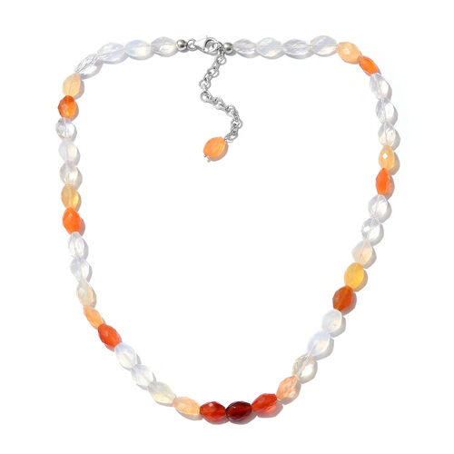 Extremely Rare Size Shades of Fire Opal (Ovl) Necklace (Size 18 with 2 inch Extender) in Platinum Overlay Sterling Silver 85.500 Ct.