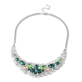Green Austrian Crystal, Simulated Multi Colour Gemstone and Simulated Mystic White Crystal Necklace