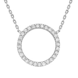 9K White Gold Simulated Diamond  Necklace