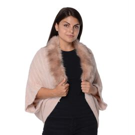 Ultra Soft Winter Kimono with Faux Fur Collar (Size 85x45 Cm)- Pink