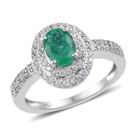 1.25 Carat AA Zambian Emerald and Cambodian Zircon Halo Ring in 9K White Gold 2.7 Grams