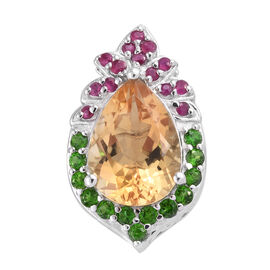 GP Citrine (Pear 4.75 Ct), Russian Diopside, Burmese Ruby and Kanchanaburi Blue Sapphire Pendant in Platinum Overlay Sterling Silver 5.690 Ct.