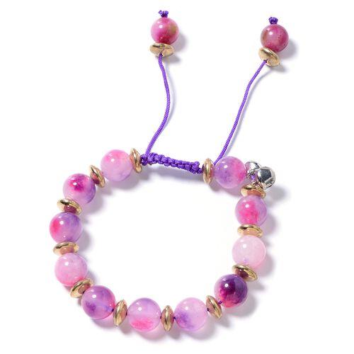 Purple and Fuschia Quartzite (Rnd) and Multi Colour Beads Adjustable Bracelet (Size 6.5 to 9.5) 150.