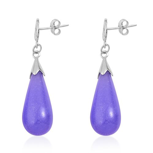 One Time Deal-Purple Jade Chinese Character FU (Happiness) Drop Earrings (with Push Back) in Rhodium Plated Sterling Silver 36.000 Ct.