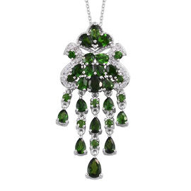 GP Russian Diopside, Natural Cambodian Zircon and Blue Sapphire Pendant With Chain (Size 18) in Plat