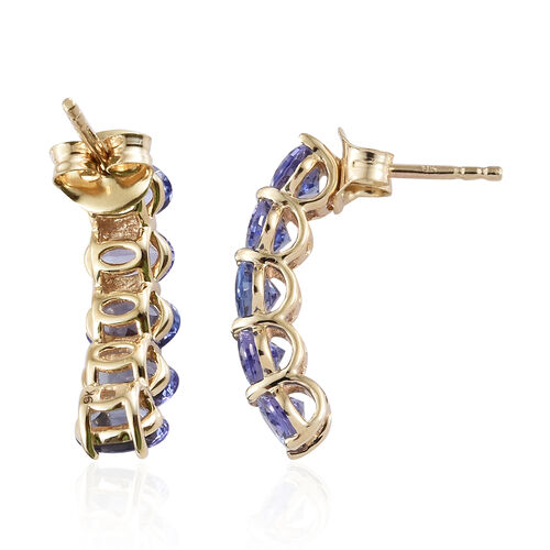 WEBEX- 9K Yellow Gold AA Tanzanite (Ovl) Stud Earrings (with Push Back) 5.00 Ct.