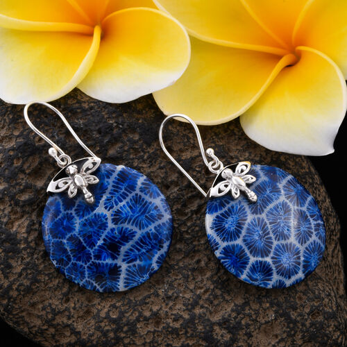 Royal Bali Collection Blue Sponge Coral Drop Earrings in Sterling Silver