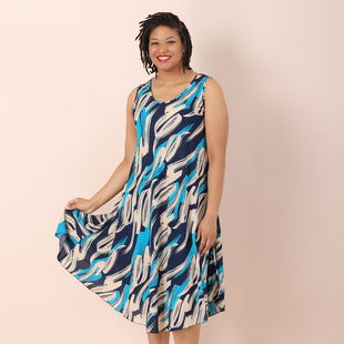 Jovie Viscose Printed Sleeveless Dress in Blue (Size up to 20)