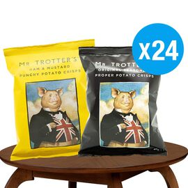 Mr Trotters Gentlemans Provisions Crisps 24x 40g (12 x Original Scratching, 12x Ham & Mustard)