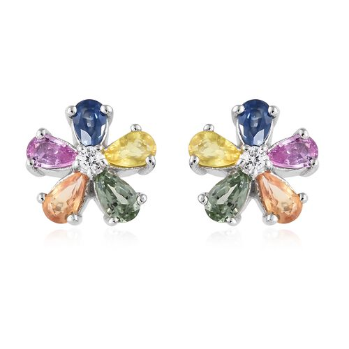 WEBEX- Rainbow Sapphire (Pear), Natural Cambodian Zircon Floral Earrings (with Push Back) in Platinum Overlay Sterling Silver 2.500 Ct