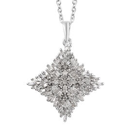 Diamond (Rnd and Bgt) Pendant with Chain (Size 20) in Platinum Overlay Sterling Silver 1.01 Ct., Sil