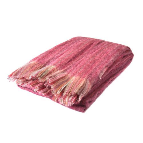 30% Mohair Wool Burgundy and Multi Colour Throw with Fringes (Size 180X130 Cm)